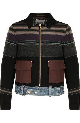 Куртка на молнии из смеси шерсти и хлопка с поясом Kolor темно-синяя | Фото №1
