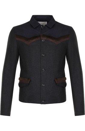 Шерстяная рубашка с отделкой Kolor темно-серая | Фото №1