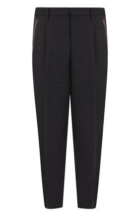 Шерстяные укороченные брюки прямого кроя Kolor темно-серые | Фото №1