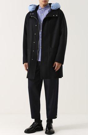 Укороченные брюки из вискозы свободного кроя Kolor темно-синие | Фото №1