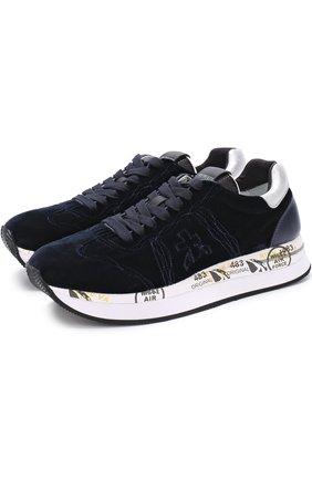 Бархатные кроссовки Conny на шнуровке | Фото №1
