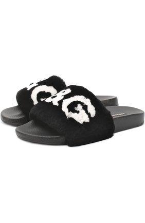 Шлепанцы с отделкой из меха кролика Dolce & Gabbana черные | Фото №1