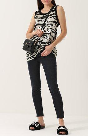 Шлепанцы с отделкой из меха кролика Dolce & Gabbana черные | Фото №2