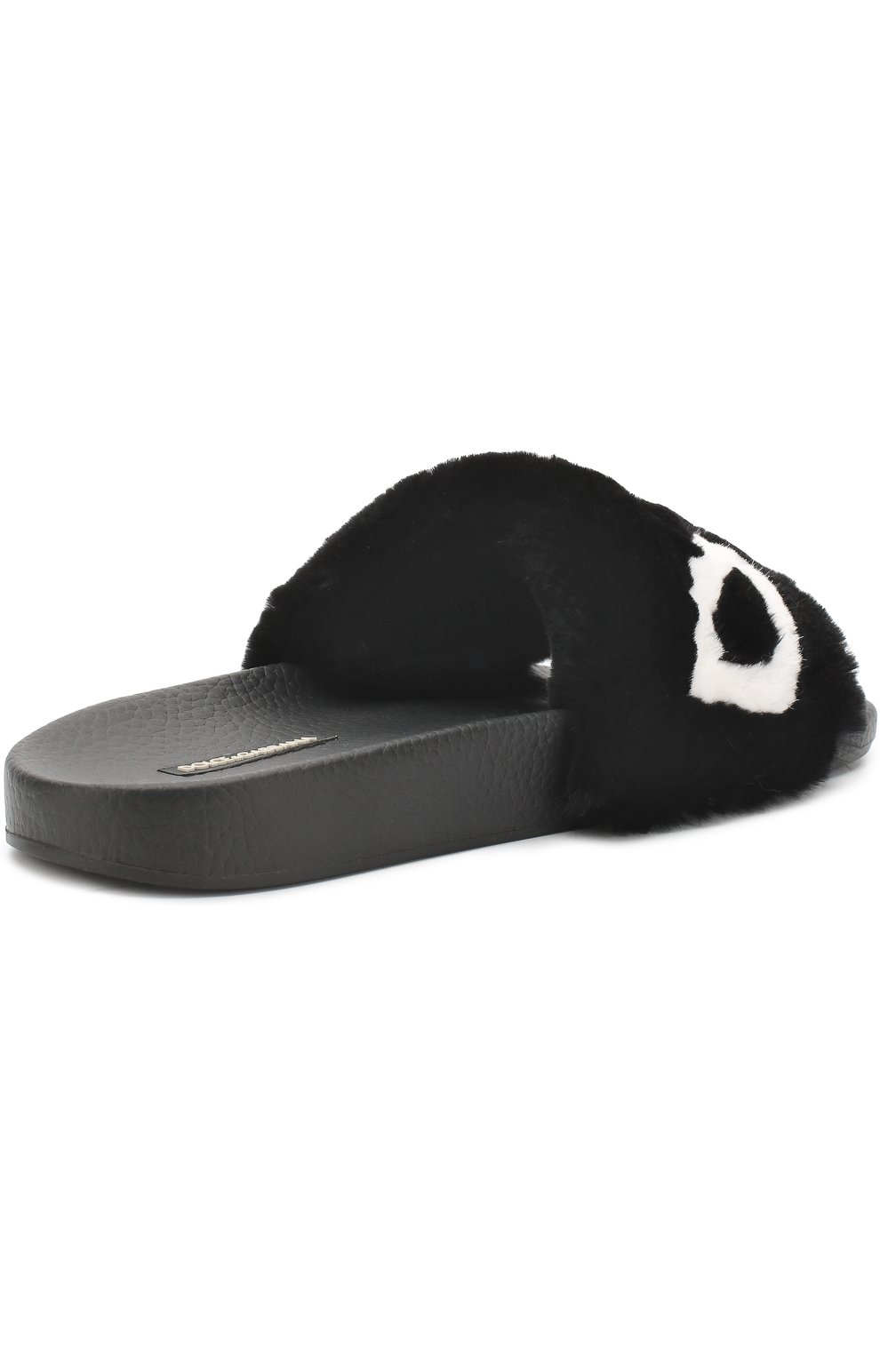 Шлепанцы с отделкой из меха кролика Dolce & Gabbana черные | Фото №4