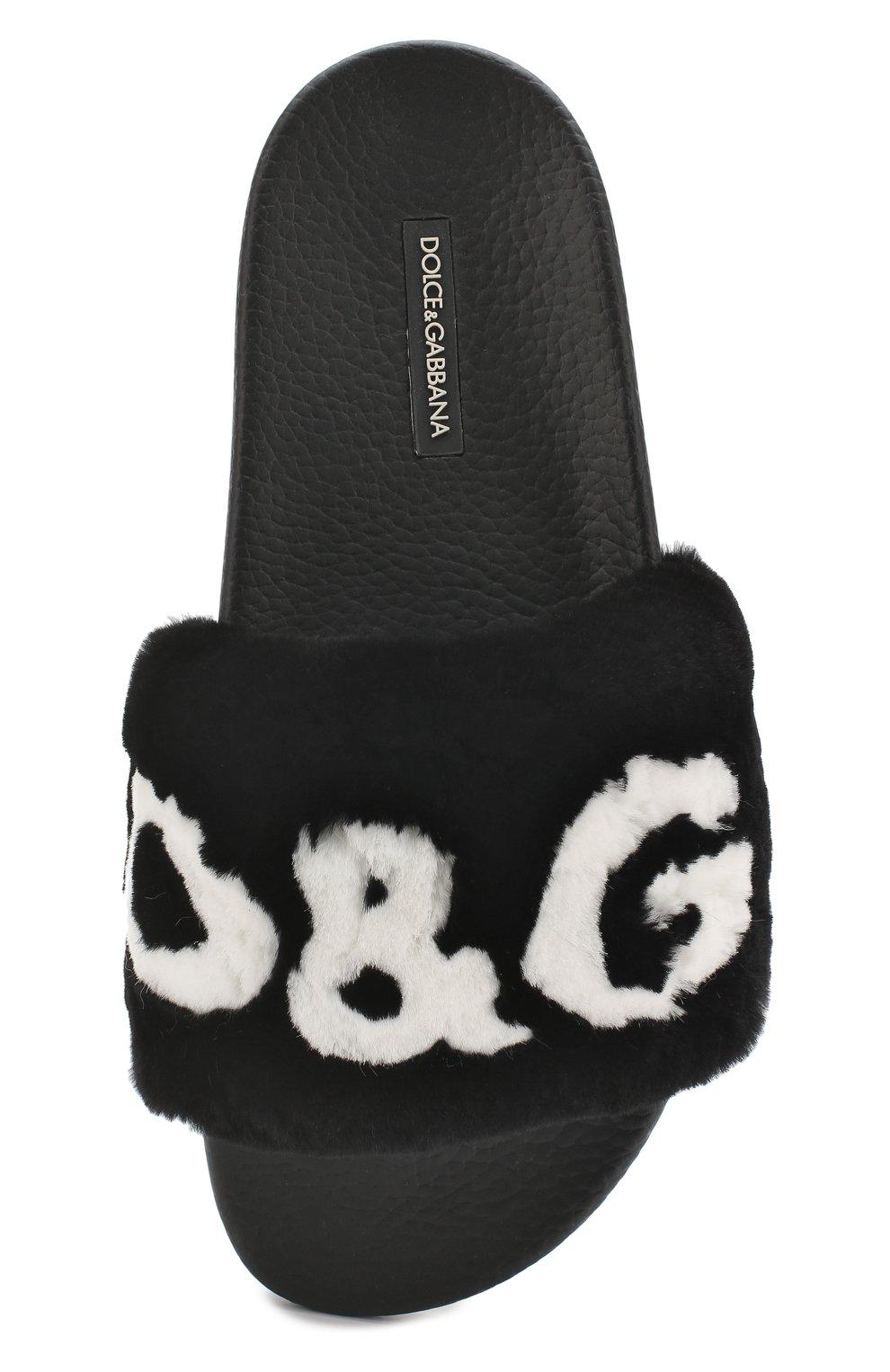 Шлепанцы с отделкой из меха кролика Dolce & Gabbana черные | Фото №5