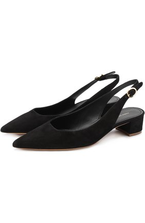 Замшевые туфли с ремешком Mansur Gavriel черные   Фото №1