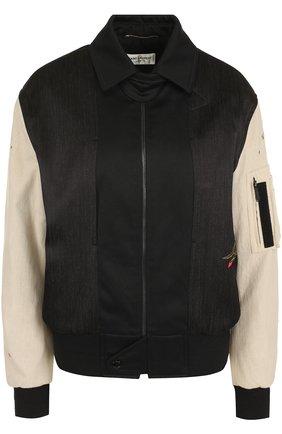 Куртка на молнии с контрастными рукавами | Фото №1