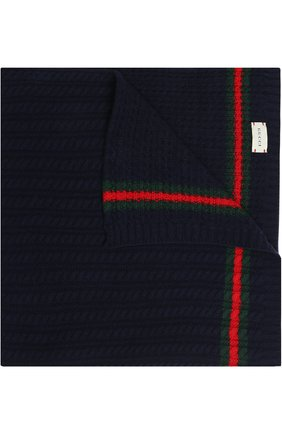 Детского шерстяное одеяло GUCCI синего цвета, арт. 473578/3K206 | Фото 1