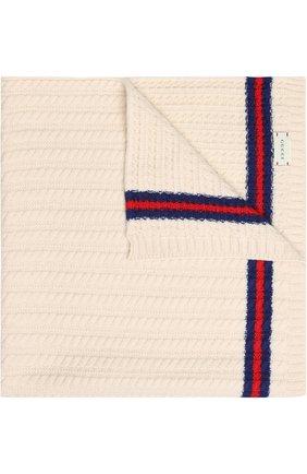 Шерстяное одеяло фактурной вязки с контрастной отделкой   Фото №1