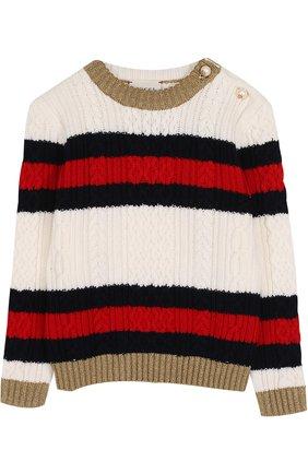 Шерстяной свитер фактурной вязки с контрастной отделкой   Фото №1