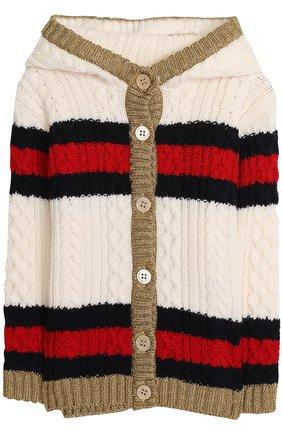 Шерстяной кардиган фактурной вязки с капюшоном | Фото №1