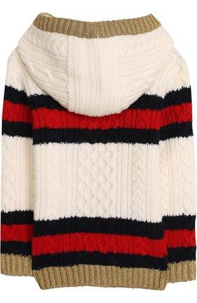 Шерстяной кардиган фактурной вязки с капюшоном | Фото №2