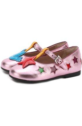 Металлизированные туфли на ремешке с аппликациями | Фото №1