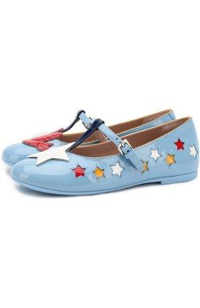 Лаковые туфли на ремешке с аппликациями | Фото №1