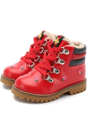 Кожаные ботинки с вышивками и молнией | Фото №1