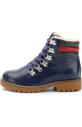 Детские кожаные ботинки на шнуровке с внутренней меховой отделкой GUCCI синего цвета, арт. 477507/D7330 | Фото 2