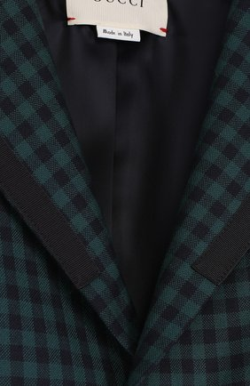 Однобортный пиджак из шерсти в клетку | Фото №3