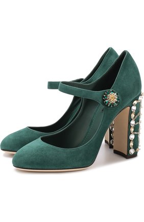 Замшевые туфли Vally на декорированном каблуке | Фото №1