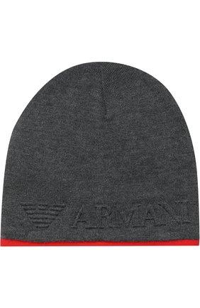 Вязаная шапка с логотипом бренда   Фото №1