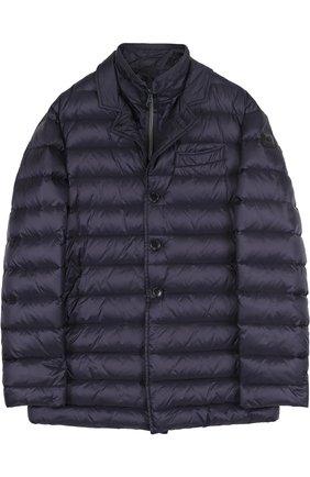 Стеганая куртка с отложным воротником Fay Junior синего цвета | Фото №1
