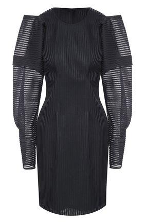 Приталенное мини-платье с объемными рукавами | Фото №1
