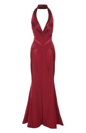 Приталенное шелковое платье-макси с подолом | Фото №1