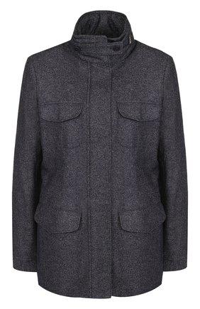 Женская приталенная куртка из смеси кашемира и льна LORO PIANA синего цвета, арт. FAG3250 | Фото 1