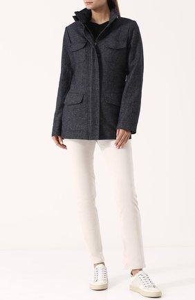 Женская приталенная куртка из смеси кашемира и льна LORO PIANA синего цвета, арт. FAG3250 | Фото 2