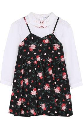 Комбинированное платье с контрастной вставкой и фигурным воротником   Фото №1