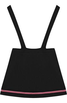 Детское хлопковый сарафан с запахом и контрастной отделкой Vivetta черного цвета | Фото №1