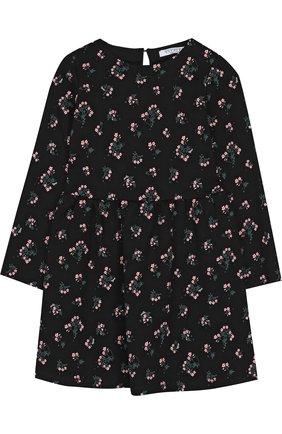 Детское хлопковое платье с принтом Vivetta черного цвета | Фото №1