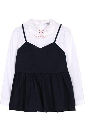 Комбинированная блуза с фигурным воротником   Фото №1