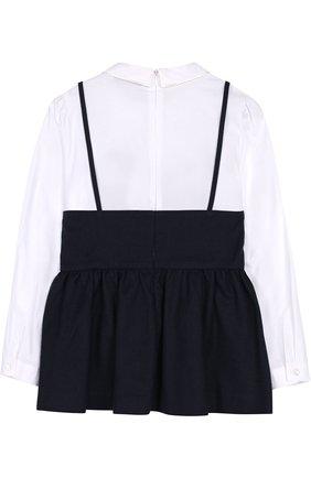 Детская комбинированная блуза с фигурным воротником Vivetta синего цвета | Фото №1