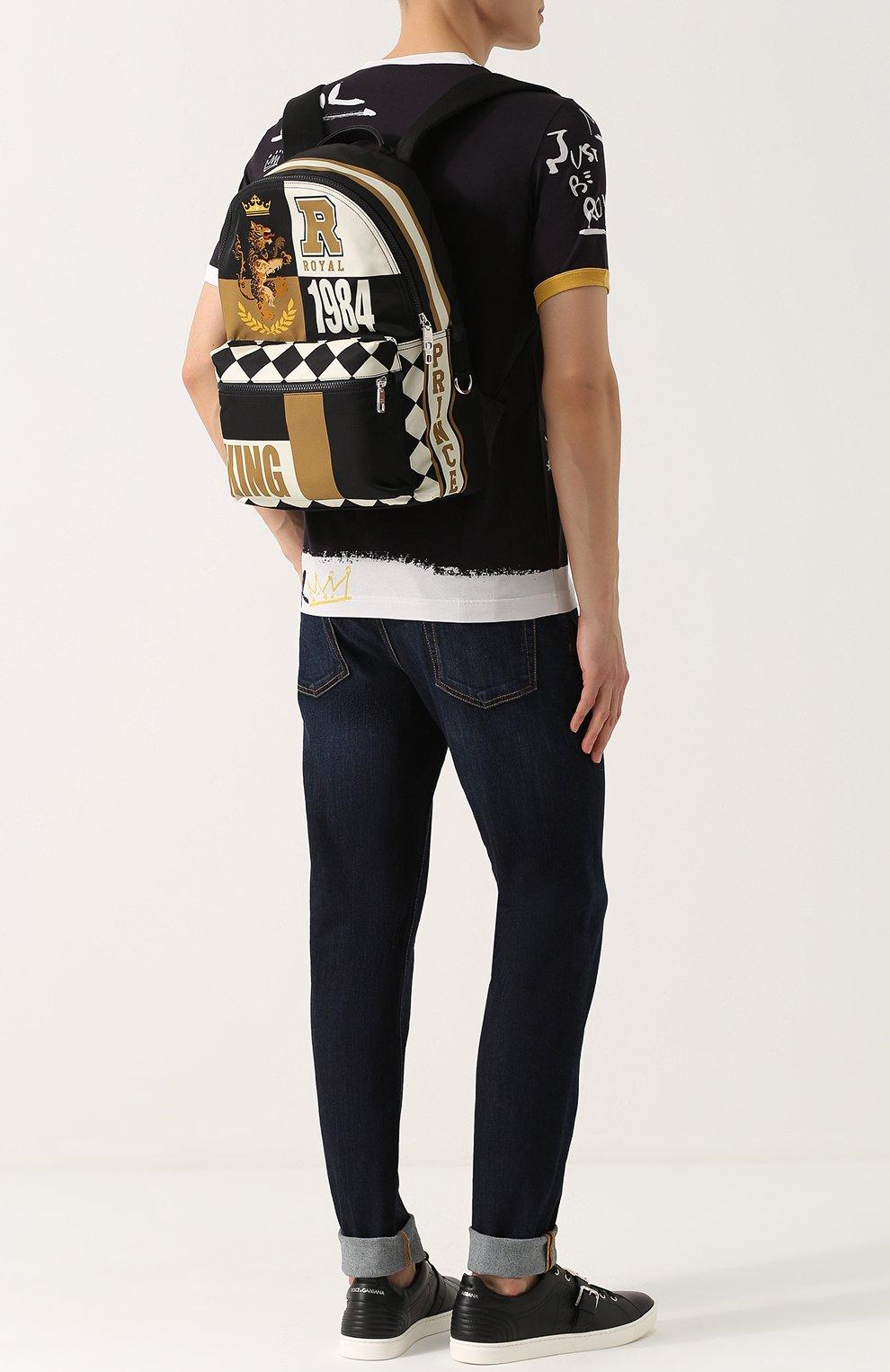Текстильный рюкзак с принтом с внешним карманом на молнии Dolce & Gabbana бежевый | Фото №2