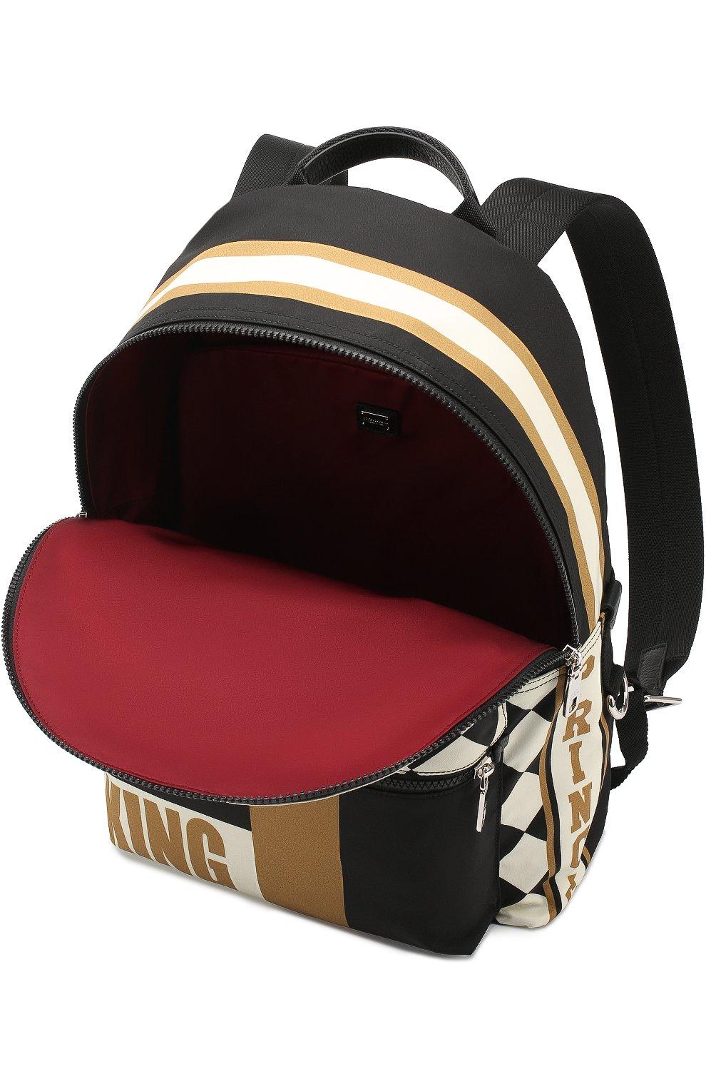 Текстильный рюкзак с принтом с внешним карманом на молнии Dolce & Gabbana бежевый | Фото №4