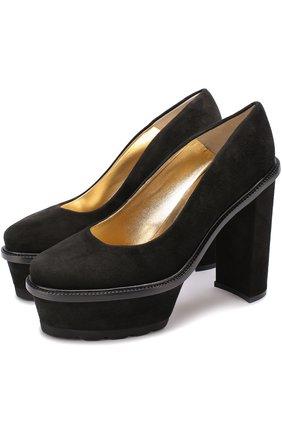 Замшевые туфли Izel на массивном каблуке и платформе Steiger черные | Фото №1