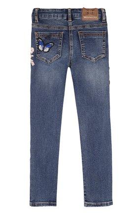 Детские джинсы с декоративными потертостями с аппликациями Jakioo синего цвета | Фото №1