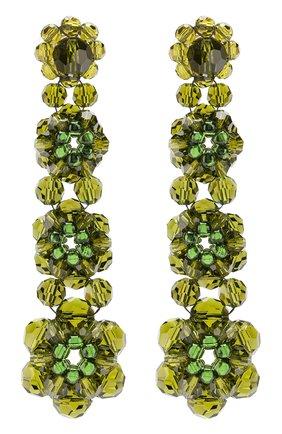 Серьги из бусин в виде цветов Simone Rocha хаки | Фото №1