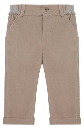 Детские хлопковые брюки прямого кроя LORO PIANA светло-серого цвета, арт. FAF8717 | Фото 1