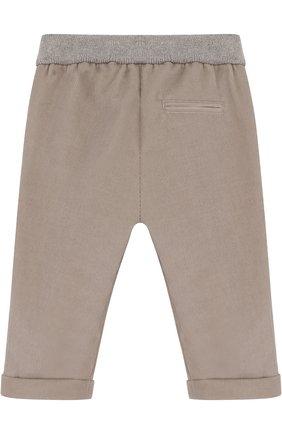 Детские хлопковые брюки прямого кроя LORO PIANA светло-серого цвета, арт. FAF8717 | Фото 2