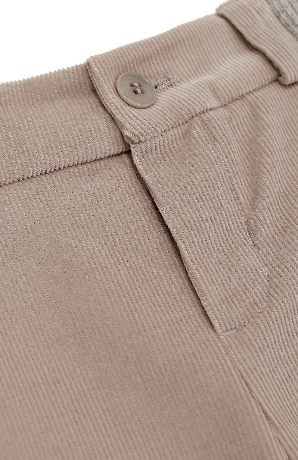 Детские хлопковые брюки прямого кроя LORO PIANA светло-серого цвета, арт. FAF8717 | Фото 3