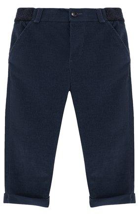 Детские хлопковые брюки прямого кроя LORO PIANA темно-синего цвета, арт. FAF8717 | Фото 1
