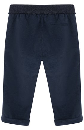 Детские хлопковые брюки прямого кроя LORO PIANA темно-синего цвета, арт. FAF8717 | Фото 2