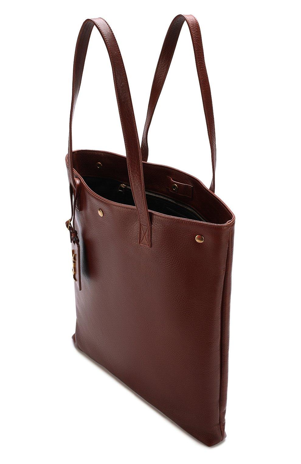 Женская сумка-шоппер из кожи SAINT LAURENT коричневая цвета — купить ... d7538937e07e4