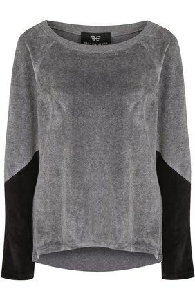 Бархатный пуловер с круглым вырезом | Фото №1
