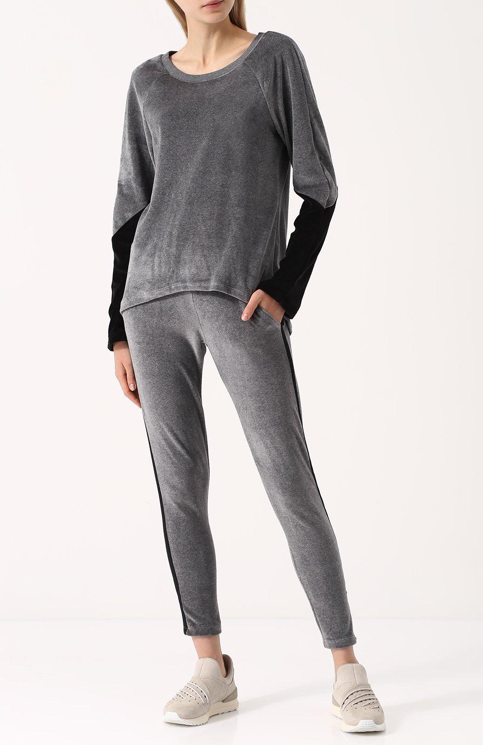 Бархатный пуловер с круглым вырезом | Фото №2