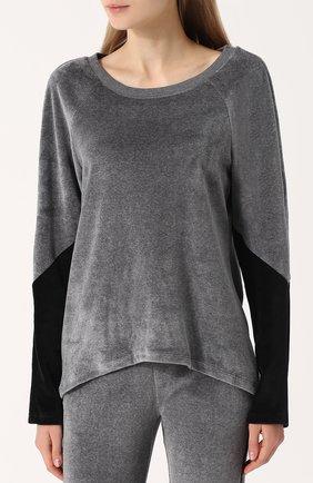 Бархатный пуловер с круглым вырезом | Фото №3