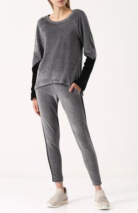 Бархатный пуловер с круглым вырезом Heroine Sport черного цвета | Фото №1