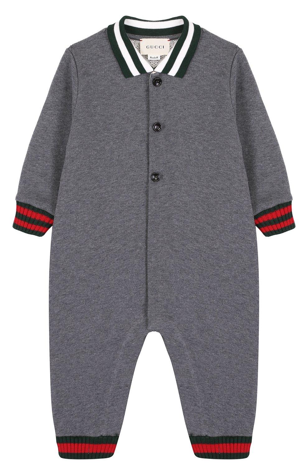 Детский хлопковая пижама с контрастной отделкой GUCCI серого цвета, арт. 430959/X9D70 | Фото 1