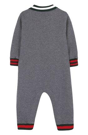 Детский хлопковая пижама с контрастной отделкой GUCCI серого цвета, арт. 430959/X9D70 | Фото 2